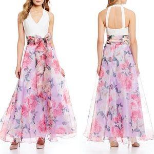 ELIZA J Halter Floral Bow Tie Waist ORGANZA GOWN 8